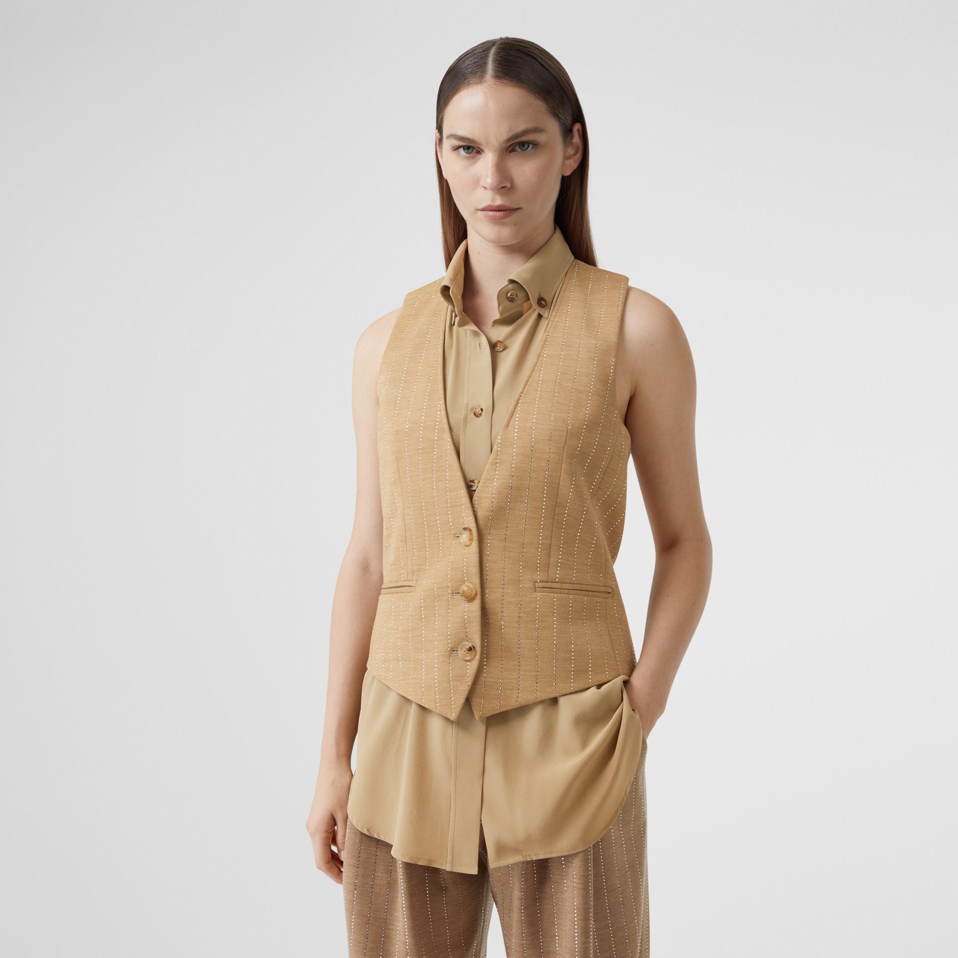 Shirt Detail Crystal Pinstriped Wool Blend Waistcoat in Pecan Melange - Women | Burberry Australia - gallery image 4
