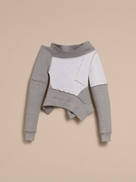Sculptured-sleeve Seam Detail Sweatshirt in Grey Melange - Women | Burberry - cell image 3