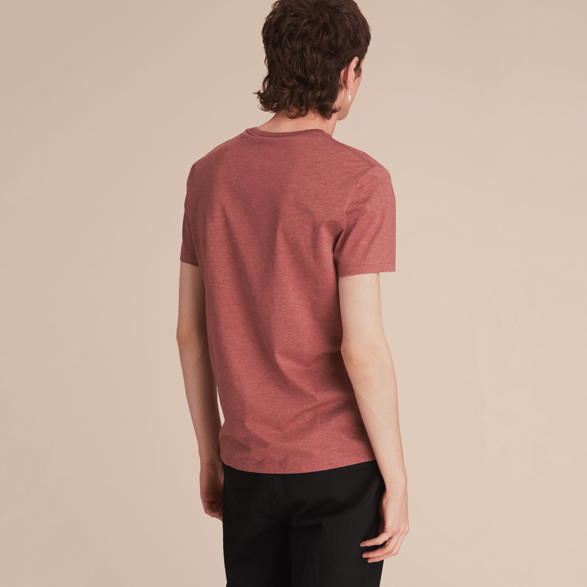 Cotton Jersey T-shirt in Russet Melange - Men | Burberry - gallery image 3