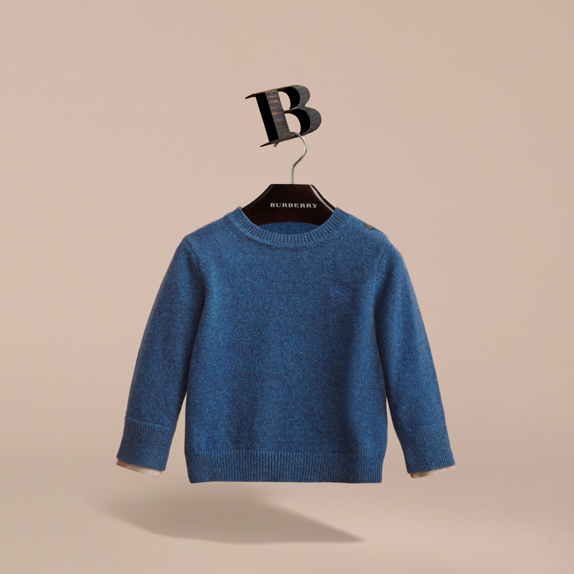 Check Detail Cashmere Sweater in Mineral Blue Melange | Burberry - gallery image 3