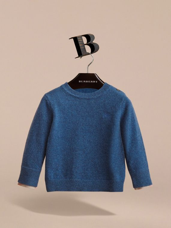 Check Detail Cashmere Sweater in Mineral Blue Melange | Burberry - cell image 2