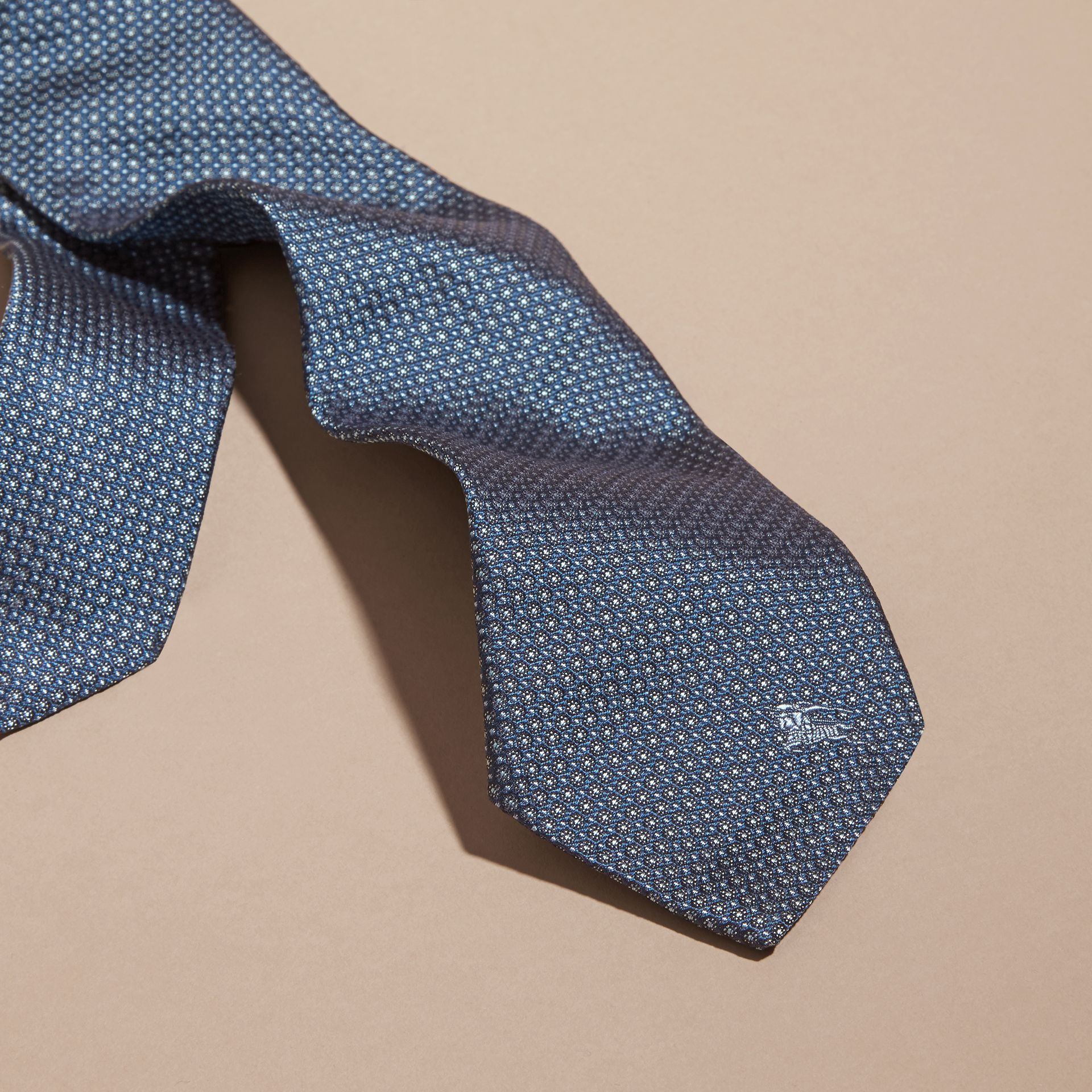 Light blue Modern Cut Patterned Silk Tie Light Blue - gallery image 4