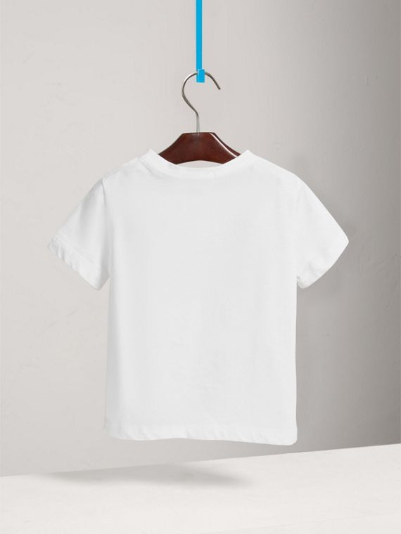 Long-sleeve Check Pocket Cotton T-shirt in White - Boy | Burberry United States - cell image 3
