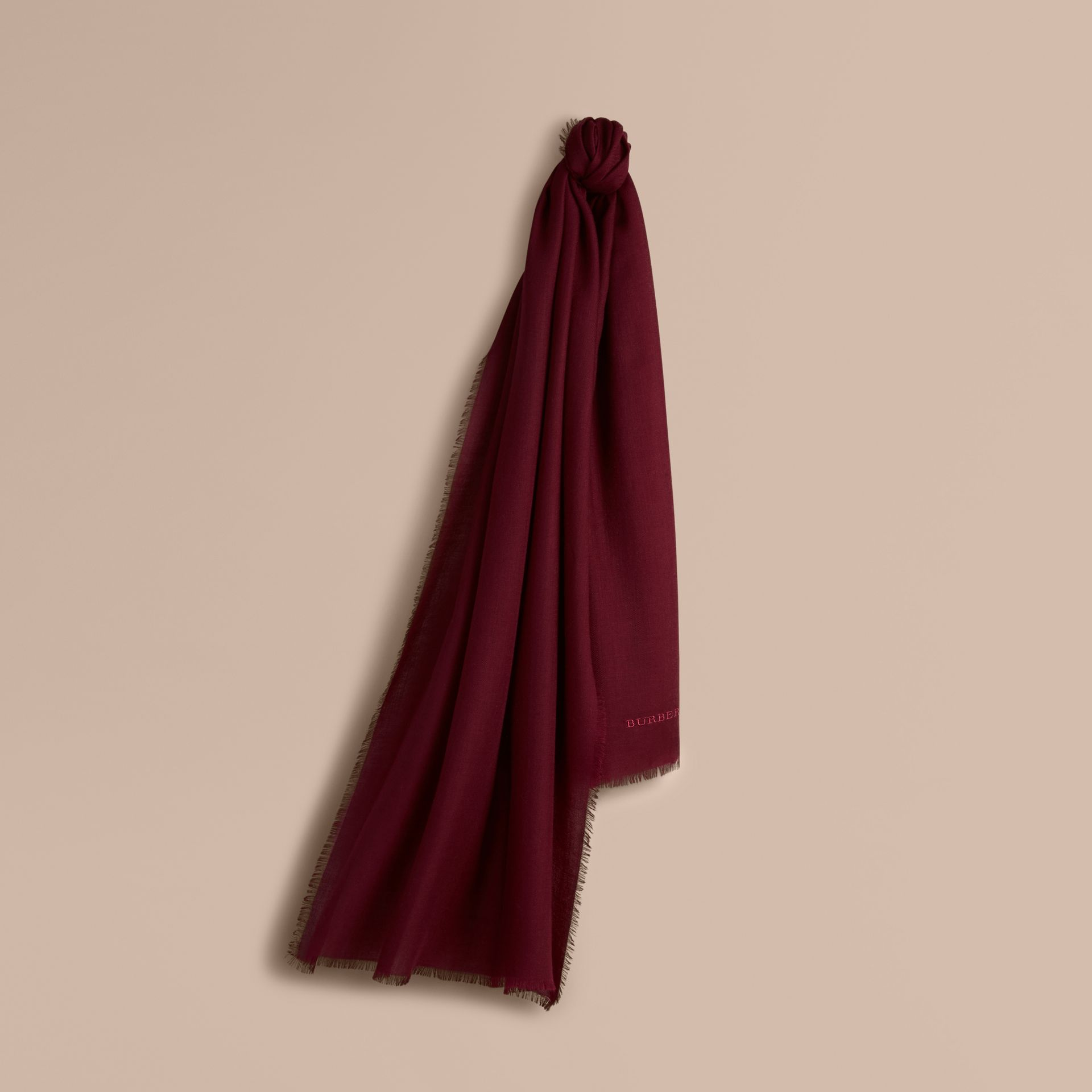 The Lightweight Cashmere Scarf in Plum | Burberry Canada - gallery image 6