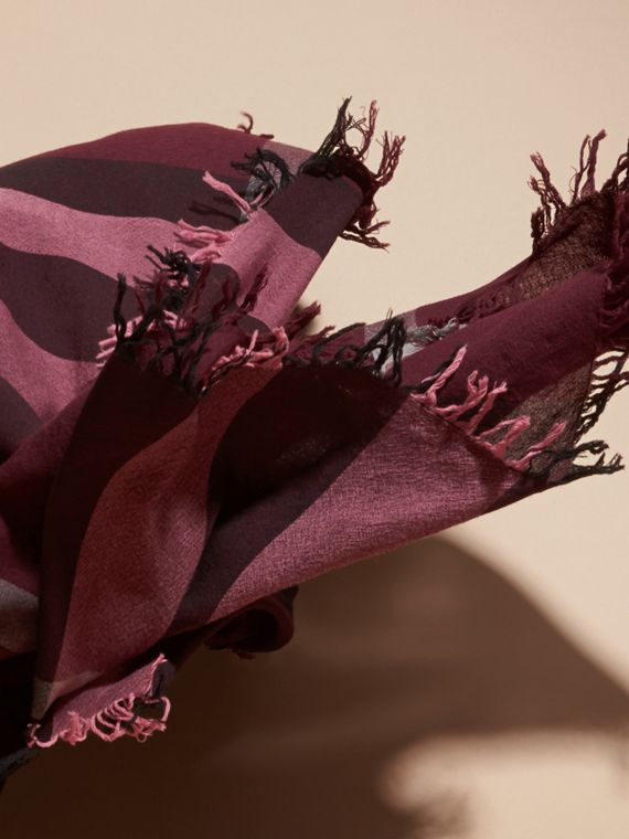 Garnet pink Check Wool Square - Large Garnet Pink - cell image 3