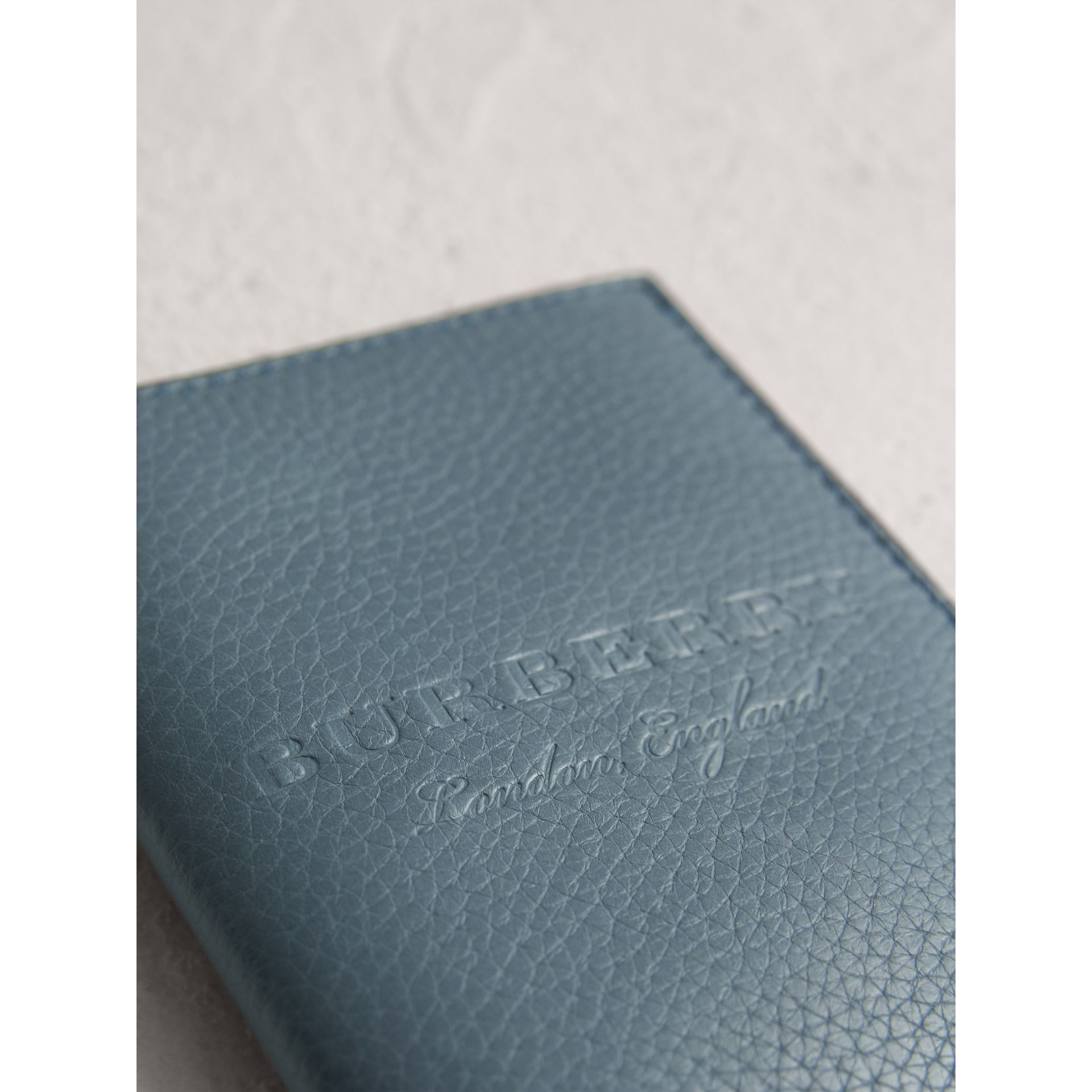 Embossed Leather Passport Holder in Dusty Teal Blue | Burberry - gallery image 1