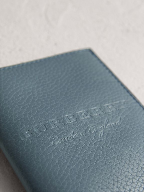 Embossed Leather Passport Holder in Dusty Teal Blue | Burberry - cell image 1
