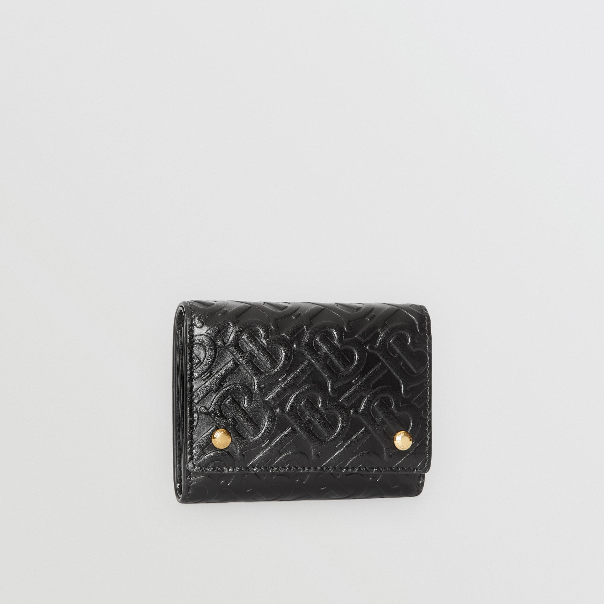 Small Monogram Leather Folding Wallet in Black | Burberry - gallery image 4