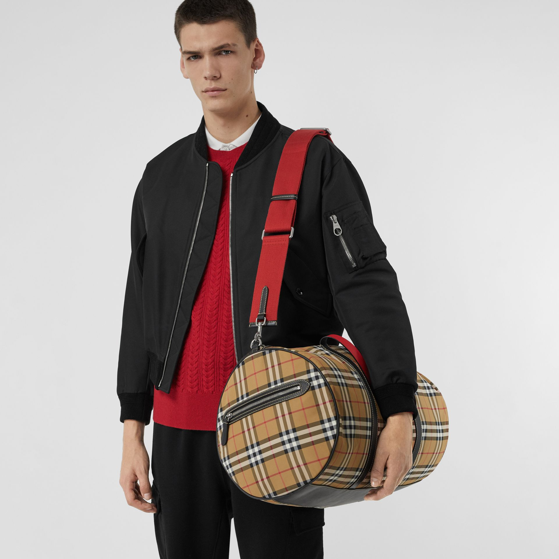 Large Vintage Check and Leather Barrel Bag in Antique Yellow - Men | Burberry Canada - gallery image 3