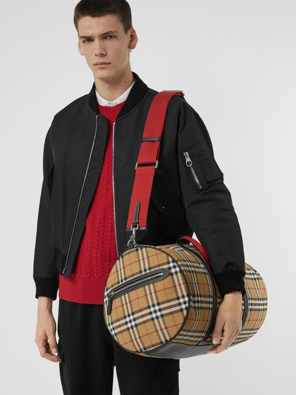 Large Vintage Check and Leather Barrel Bag in Antique Yellow - Men | Burberry Canada - cell image 3