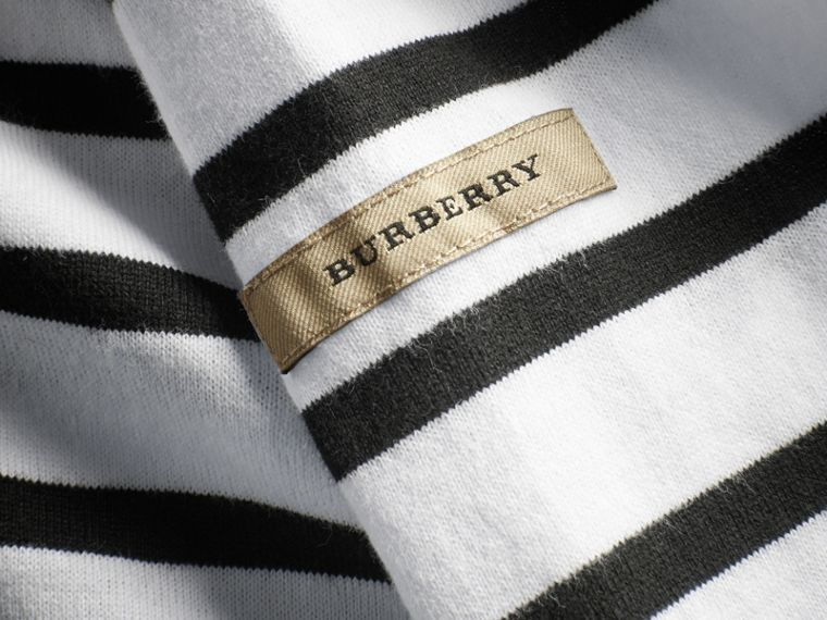 Striped Cotton Oversize T-shirt in White/black - Men | Burberry - cell image 1