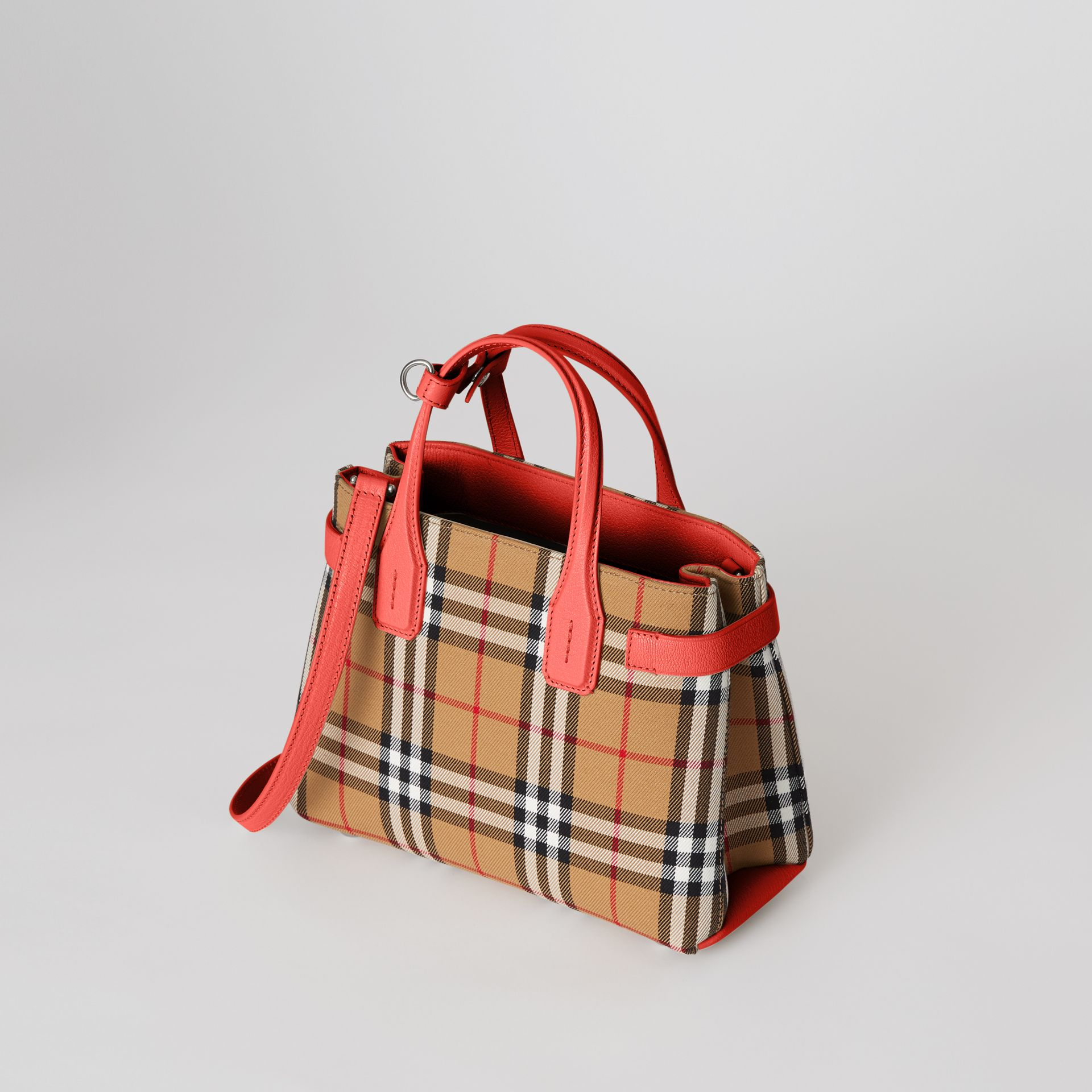 The Small Banner in Vintage Check and Leather in Bright Red - Women | Burberry Australia - gallery image 4