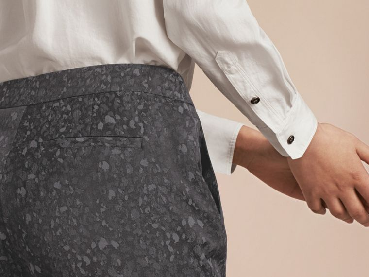 Gris sombre Pantalon skinny en coton mélangé tissé en jacquard - cell image 4