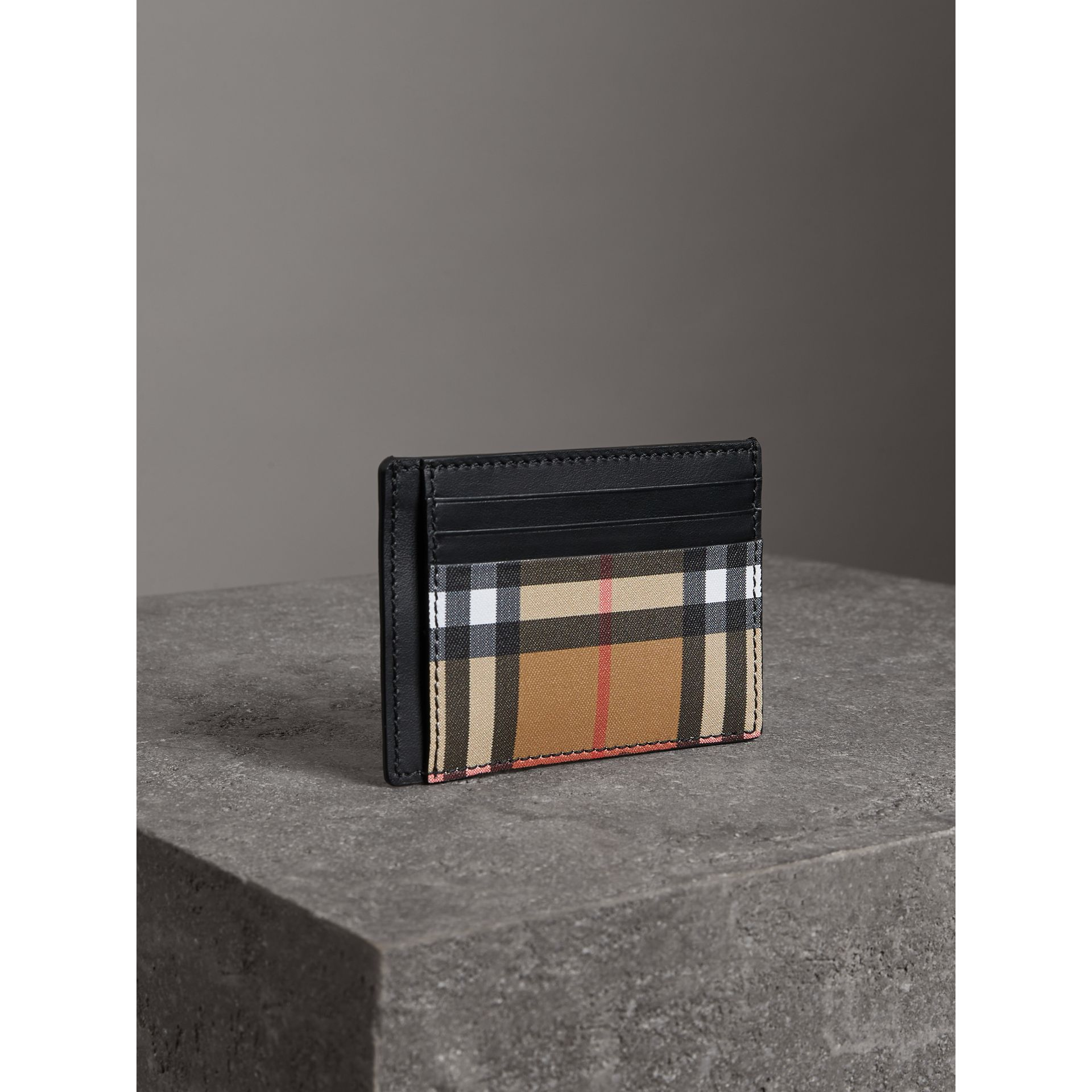 Vintage Check and Leather Money Clip Card Case in Black - Men | Burberry - gallery image 4