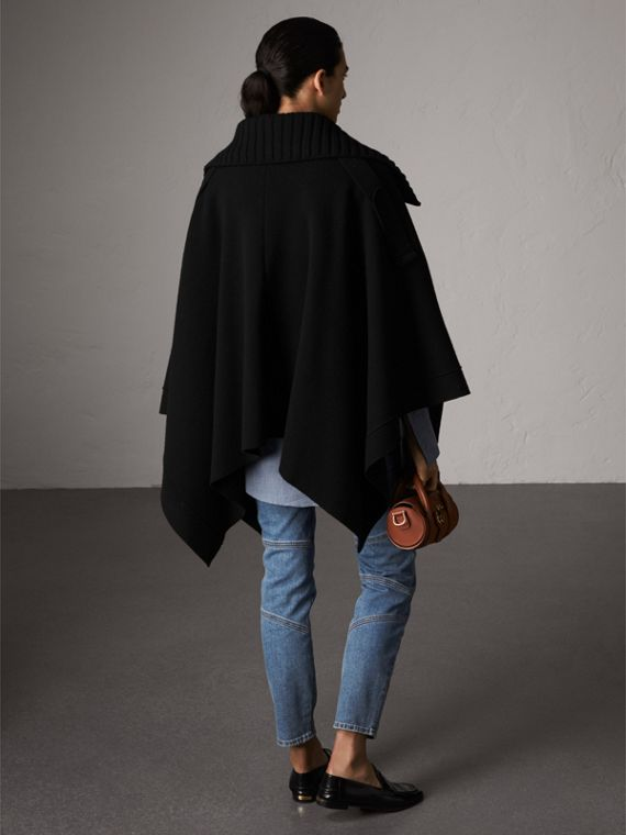 Rib Knit Collar Wool Cashmere Blend Poncho in Black - Women | Burberry - cell image 2