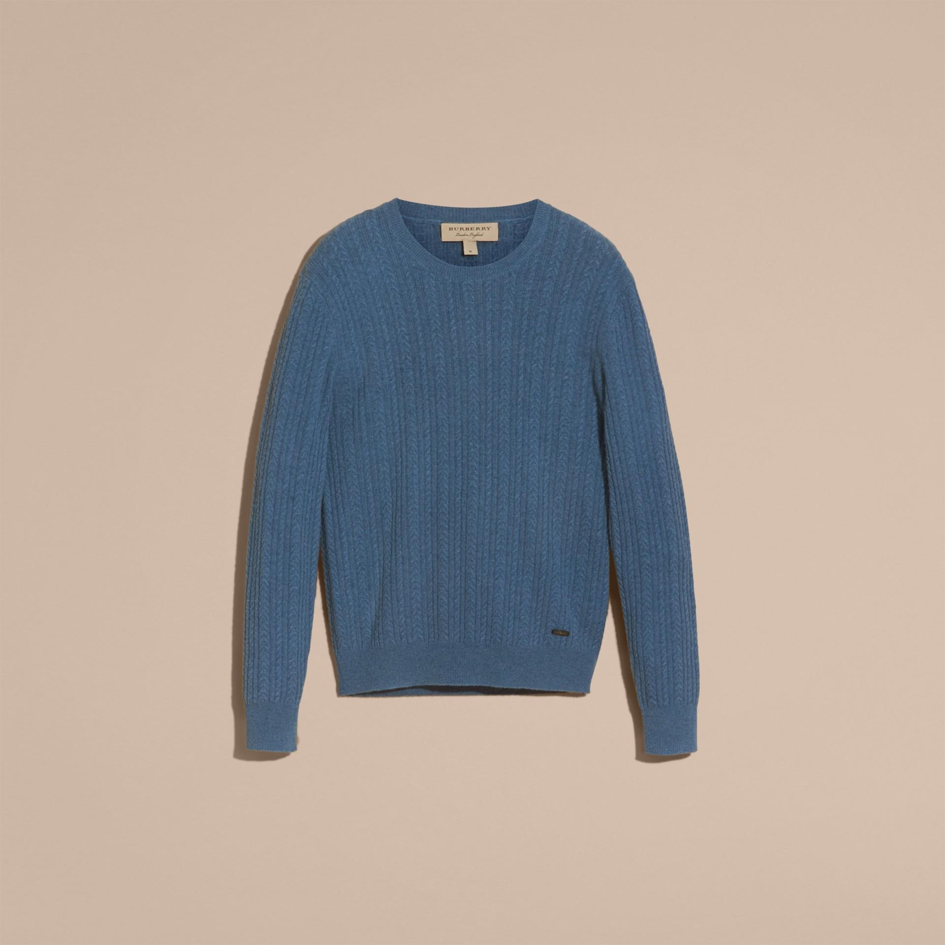 Hydrangea blue Aran Knit Cashmere Sweater Hydrangea Blue - gallery image 4