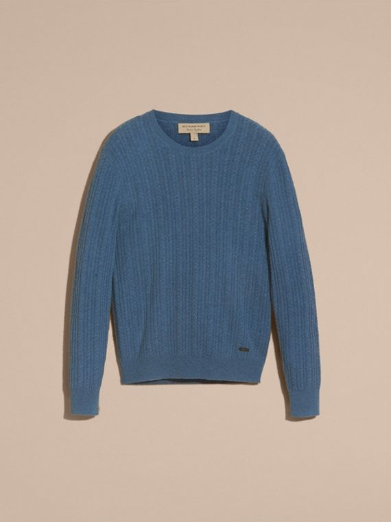 Aran Knit Cashmere Sweater in Hydrangea Blue - cell image 3