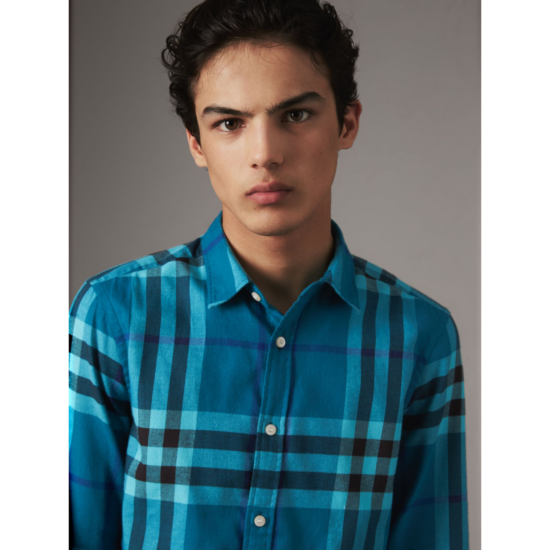 Check Cotton Flannel Shirt in Peridot Blue - Men | Burberry Canada - gallery image 2
