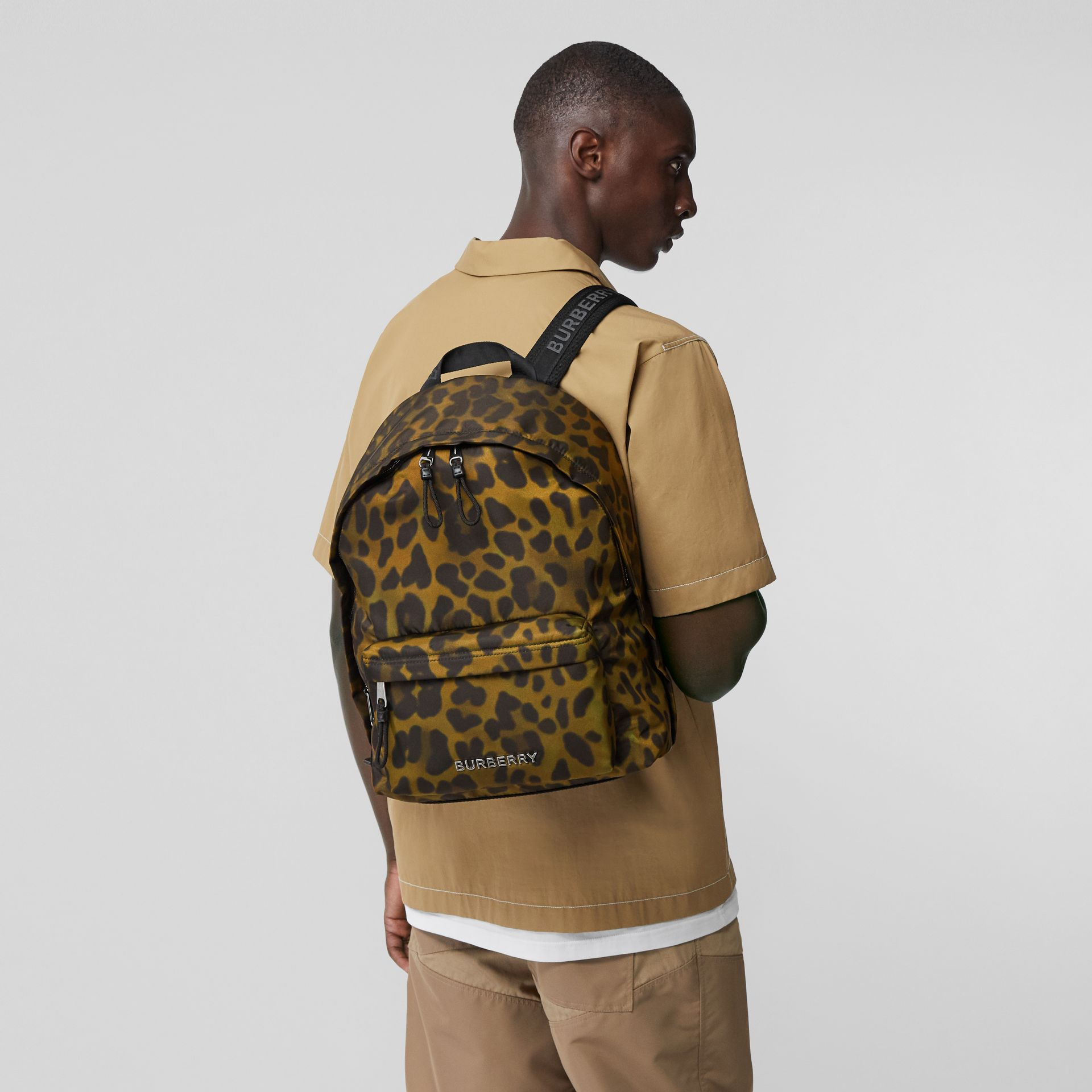 Leopard Print Nylon Backpack in Khaki Green | Burberry Australia - gallery image 2