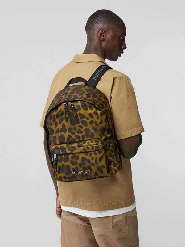 Leopard Print Nylon Backpack in Khaki Green | Burberry - cell image 2