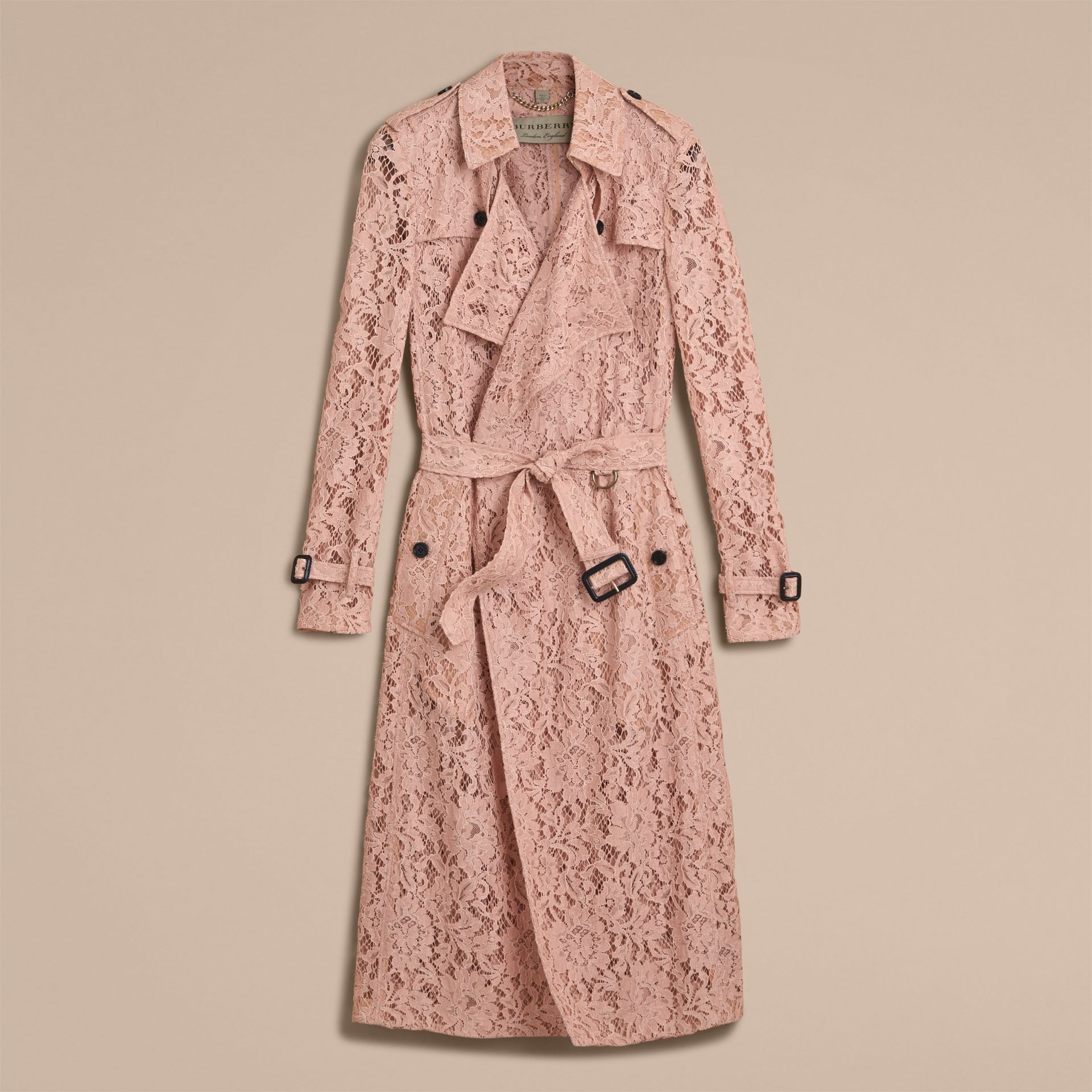 Macramé Lace Trench Coat Pale Pink - gallery image 4