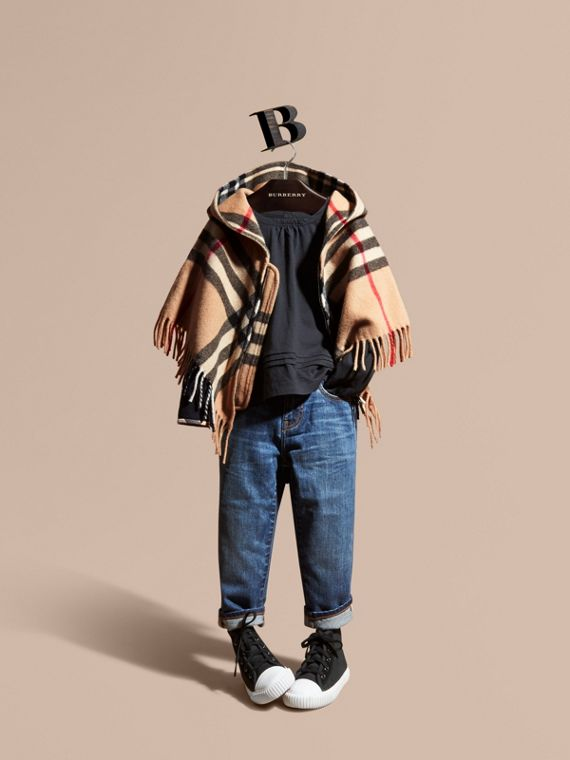 Hooded Check Wool Cashmere Cape - Girl | Burberry Singapore