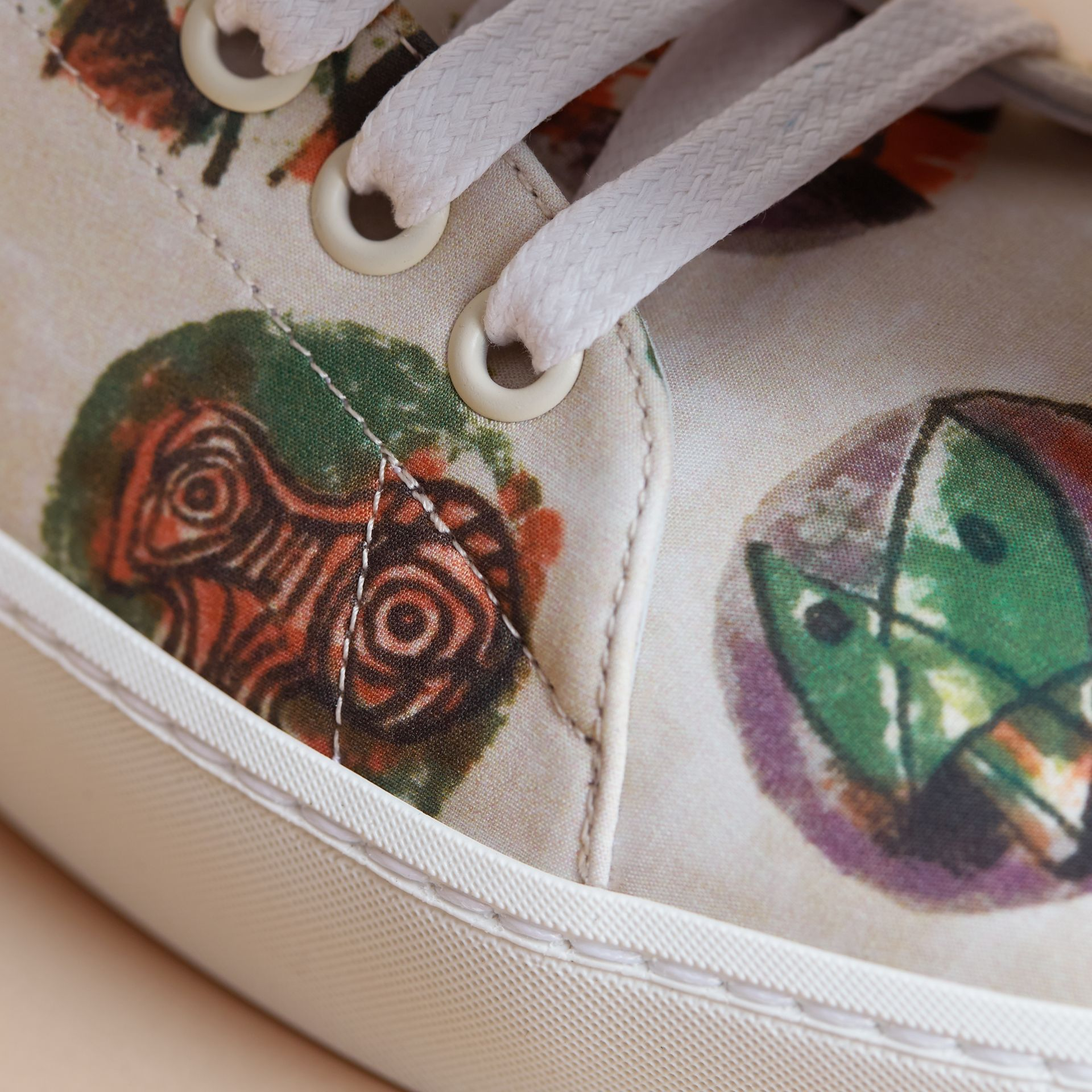 Pallas Heads Print Cotton and Leather Trainers in Natural White - Women | Burberry - gallery image 2
