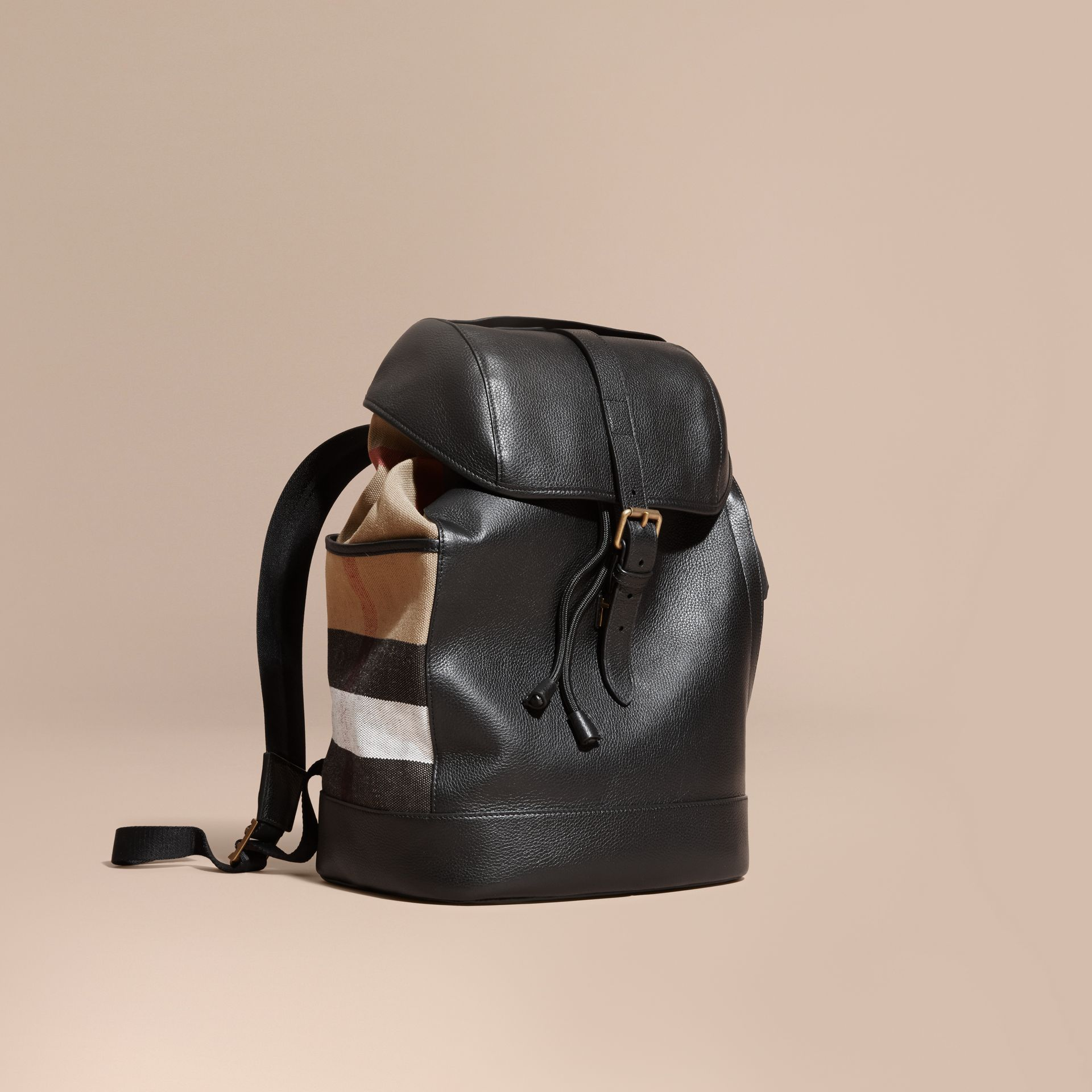 Black Leather and Canvas Check Backpack - gallery image 1