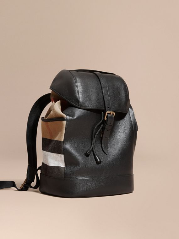 Leather and Canvas Check Backpack