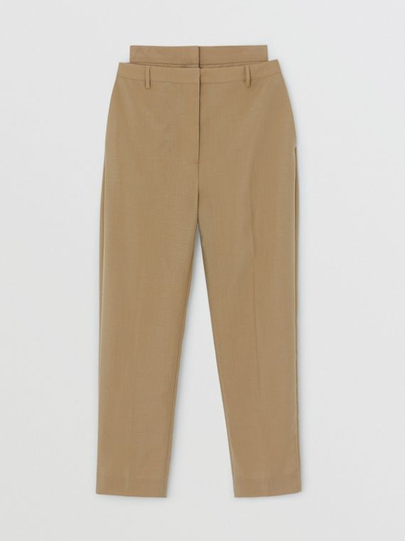 Double-waist Mohair Wool Trousers in Honey