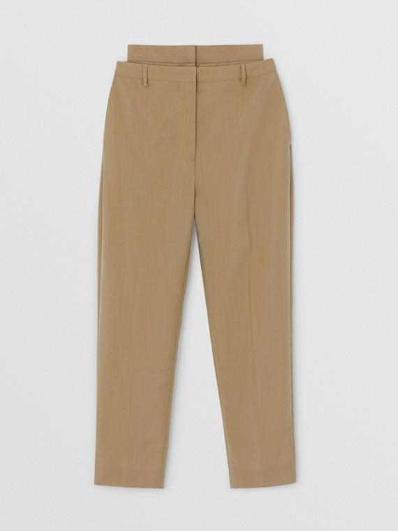 雙腰設計馬海羊毛長褲 (蜜金色)