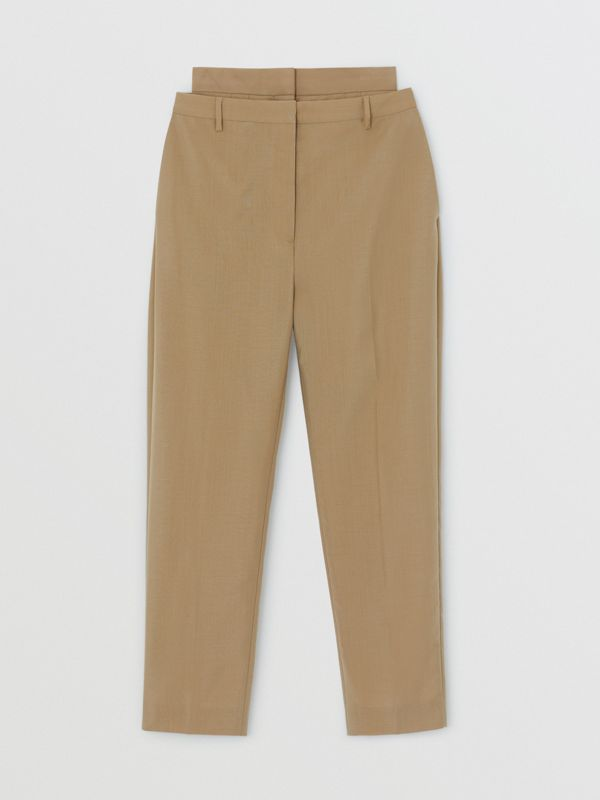 Double-waist Mohair Wool Trousers in Honey - Women | Burberry United States - cell image 3