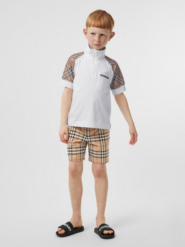 Camisa polo de algodão com zíper e detalhe xadrez (Branco)