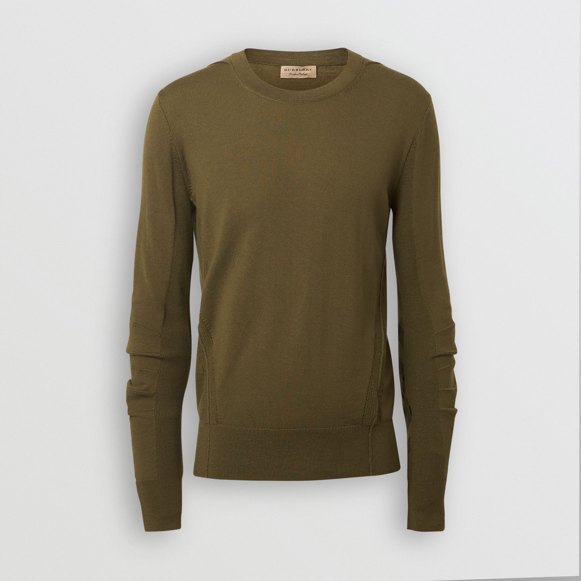 Rib Knit Detail Merino Wool Sweater in Olive Green - Men | Burberry Singapore - gallery image 3