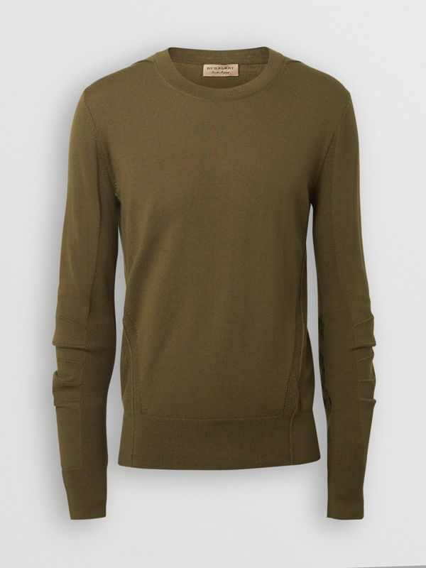 Rib Knit Detail Merino Wool Sweater in Olive Green - Men | Burberry Singapore - cell image 3