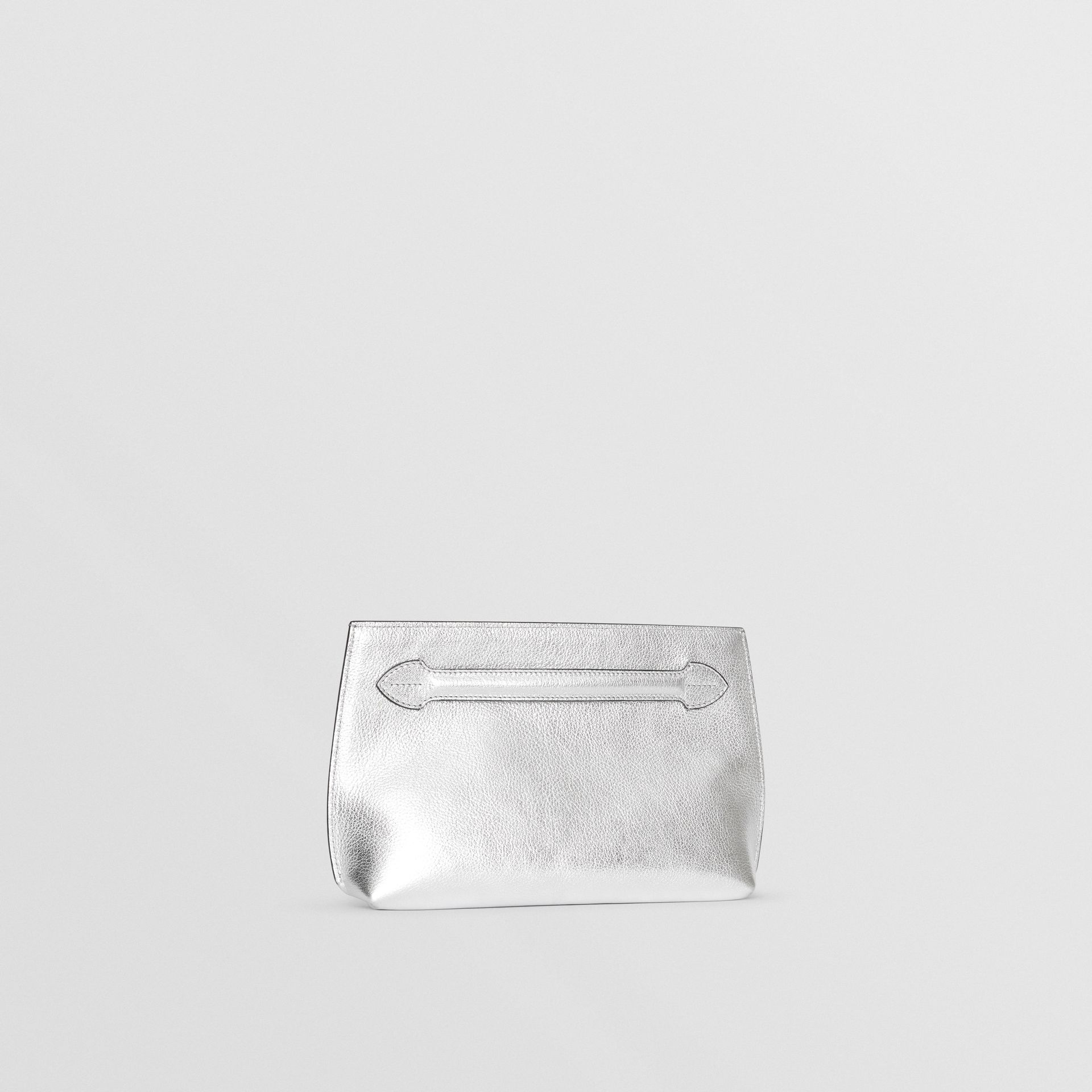 Metallic Leather Wristlet Clutch in Silver - Women | Burberry Australia - gallery image 6