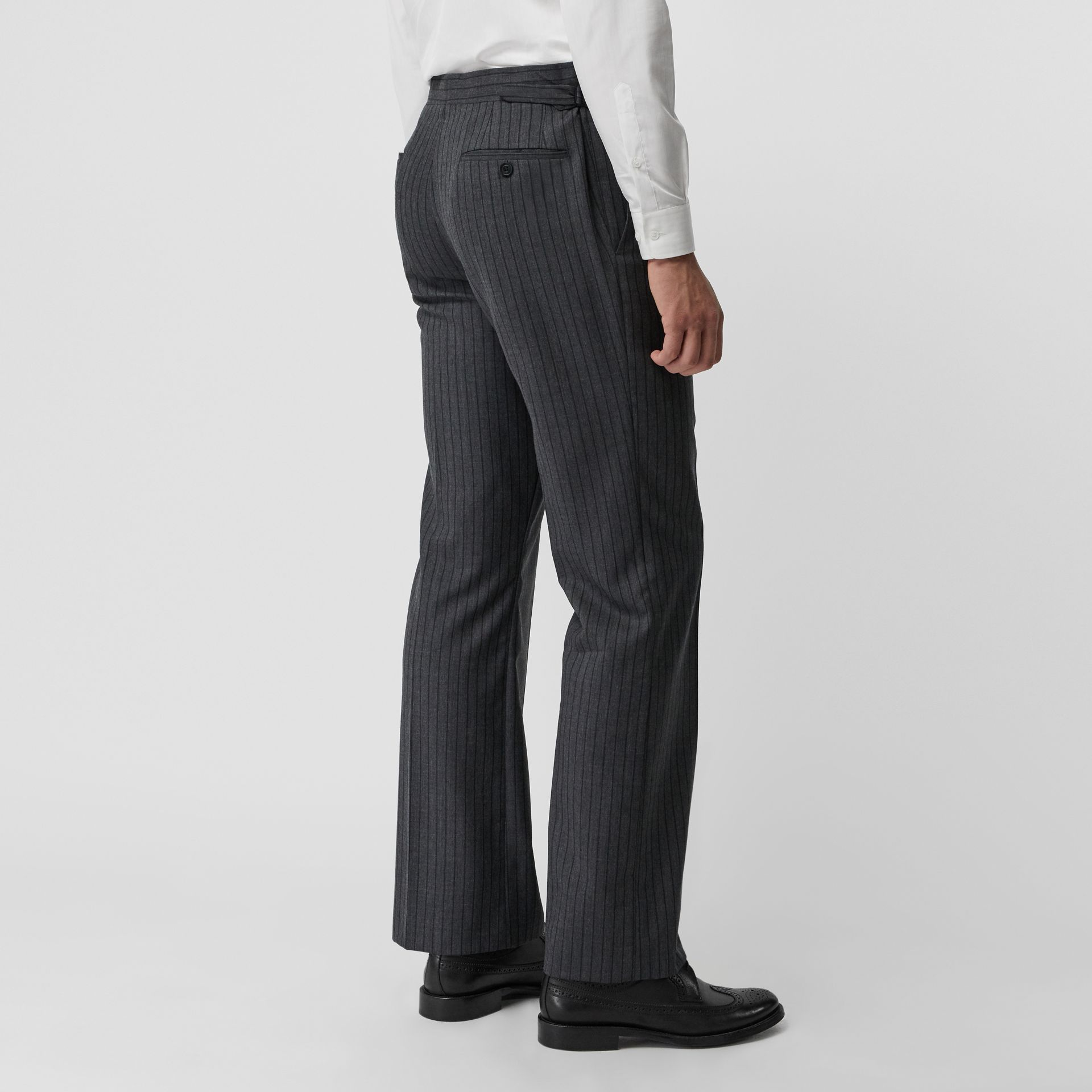 Classic Fit Pinstriped Wool Tailored Trousers in Mid Grey Melange - Men | Burberry - gallery image 2