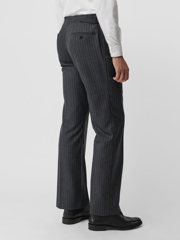 Classic Fit Pinstriped Wool Tailored Trousers in Mid Grey Melange - Men | Burberry United Kingdom - cell image 2