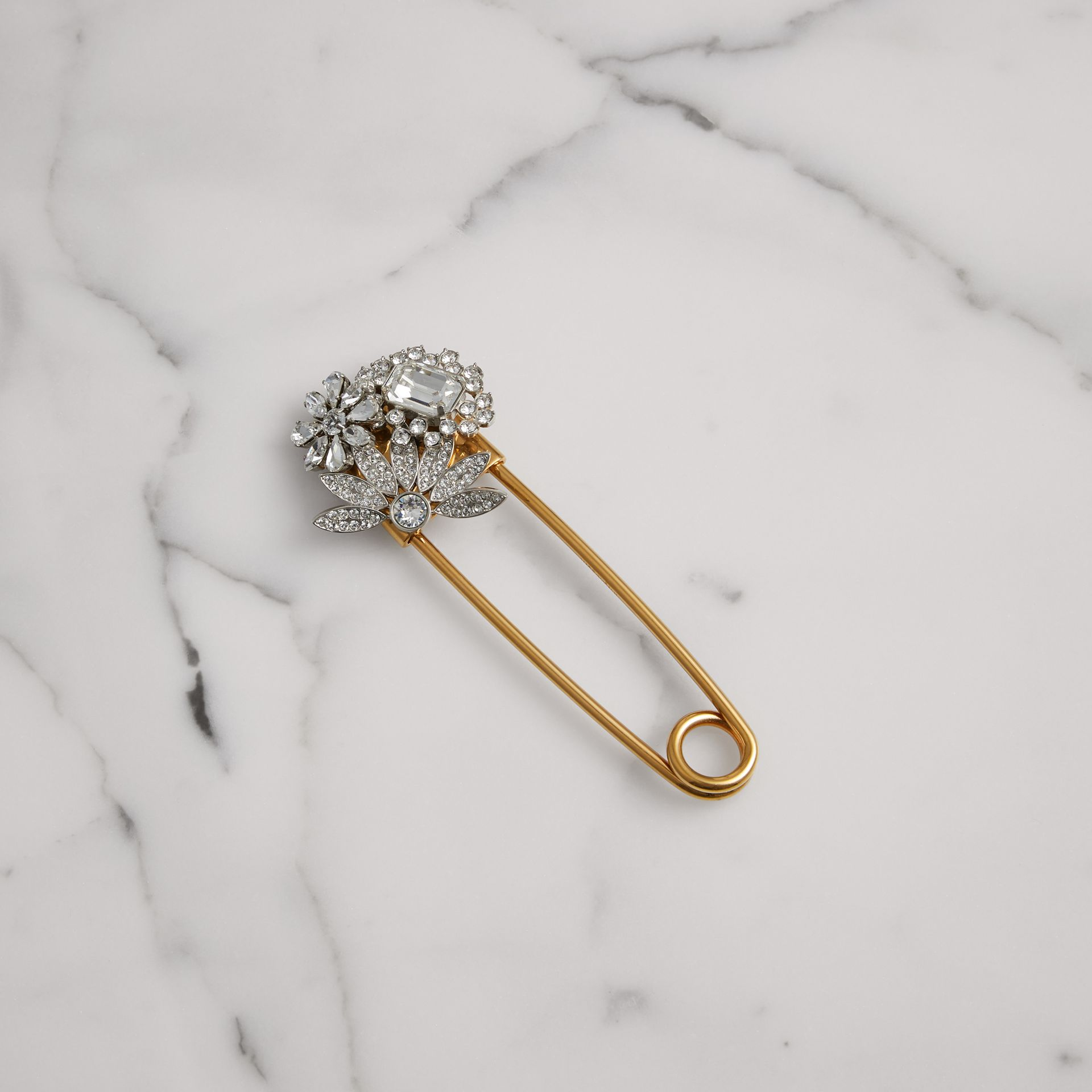 Crystal Daisy Gold-plated Kilt Pin in Natural Silver - Women | Burberry Canada - gallery image 0