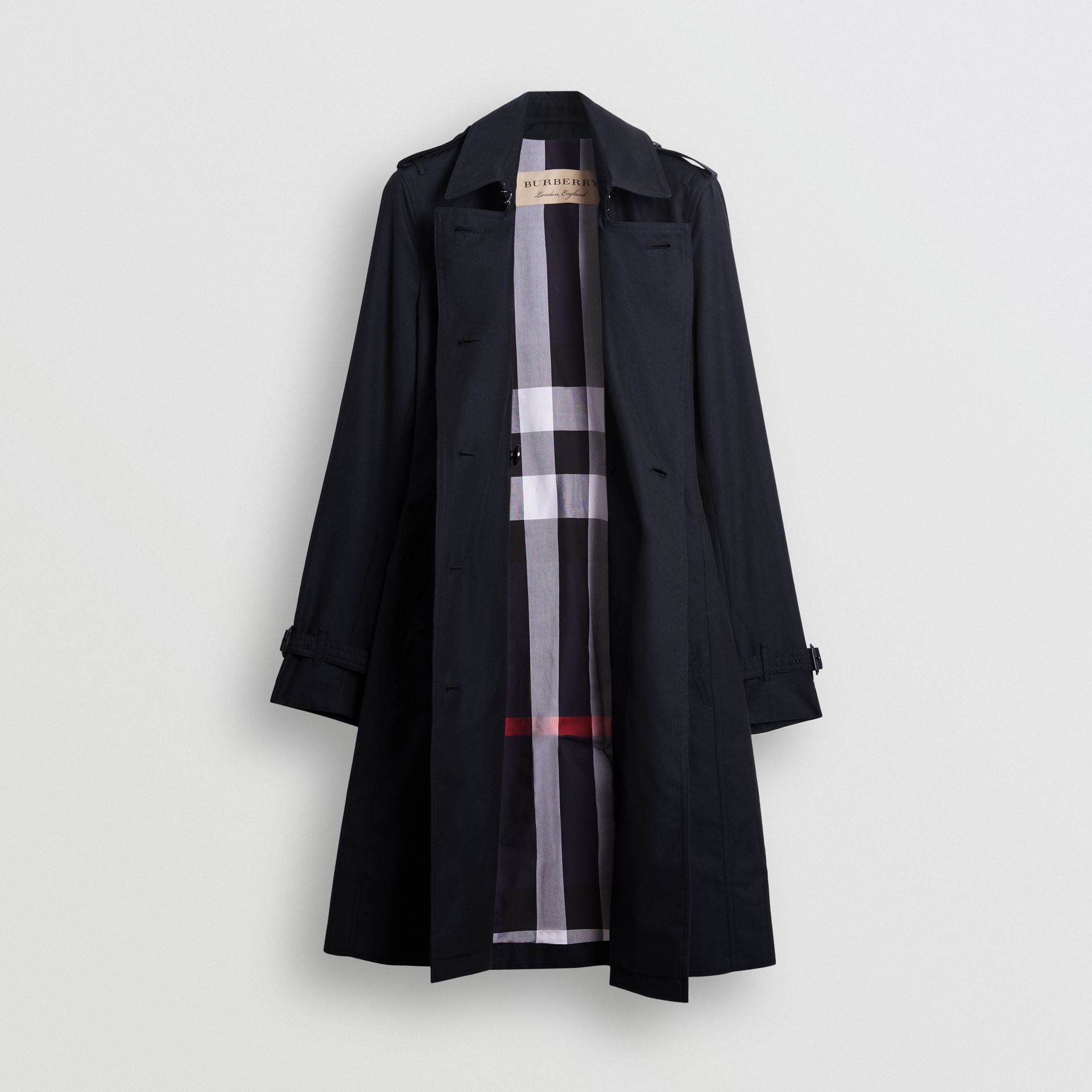 Kensington Fit Cotton Gabardine Trench Coat in Blue Carbon - Women | Burberry - gallery image 7