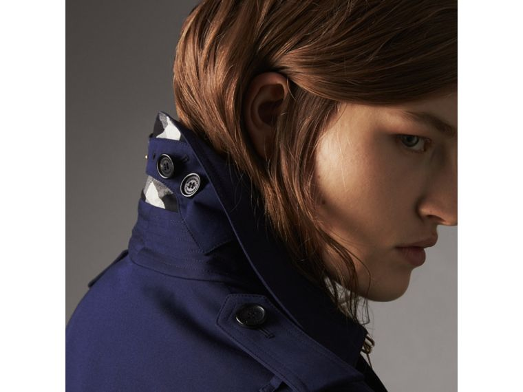 Cotton Gabardine Trench Coat in Blueberry - Women | Burberry - cell image 1