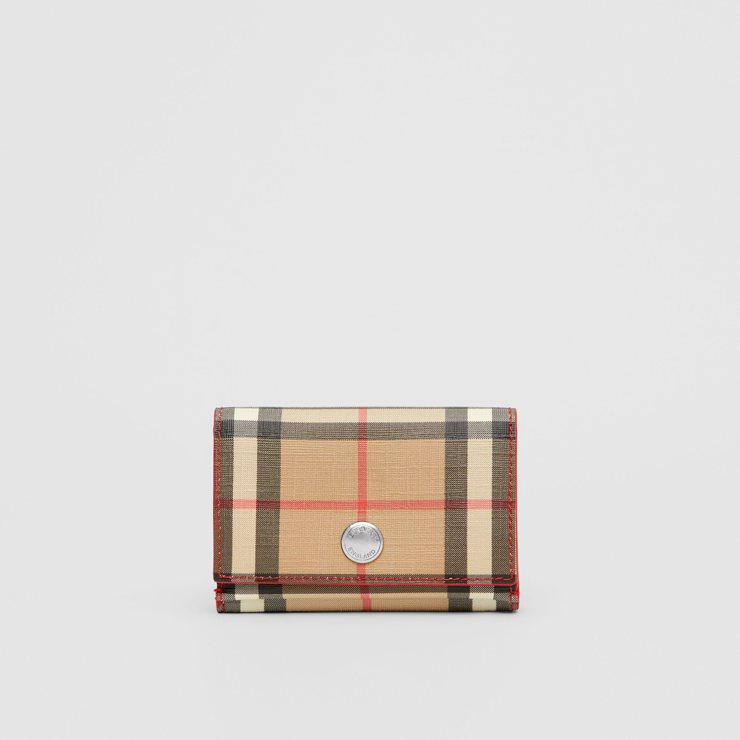 Small Vintage Check E-canvas Folding Wallet in Bright Military Red - Women | Burberry Australia - 1