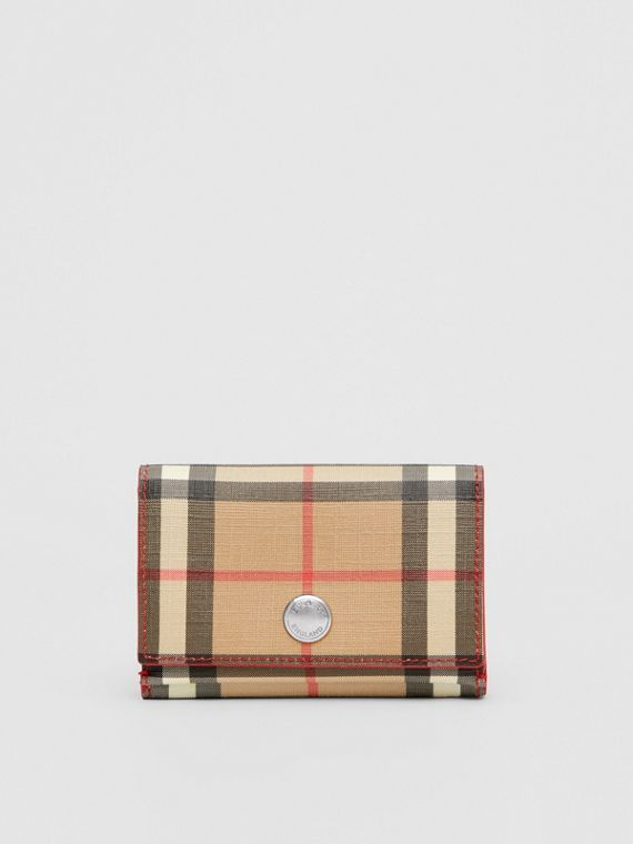 Small Vintage Check E-canvas Folding Wallet in Bright Military Red