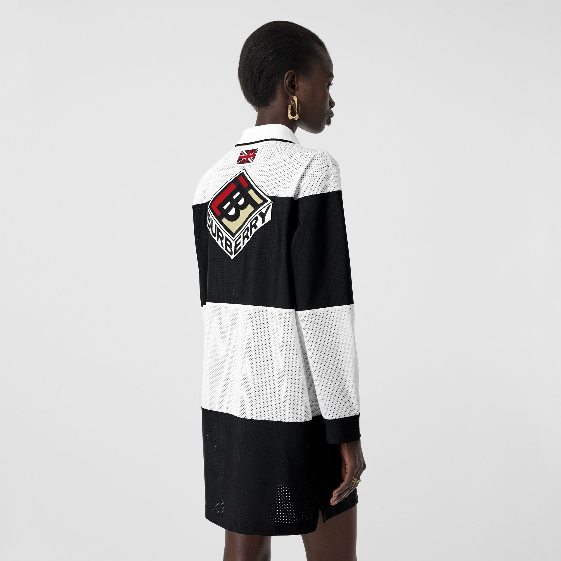 Logo Graphic Striped Mesh Polo Shirt Dress in Black - Women | Burberry - gallery image 2