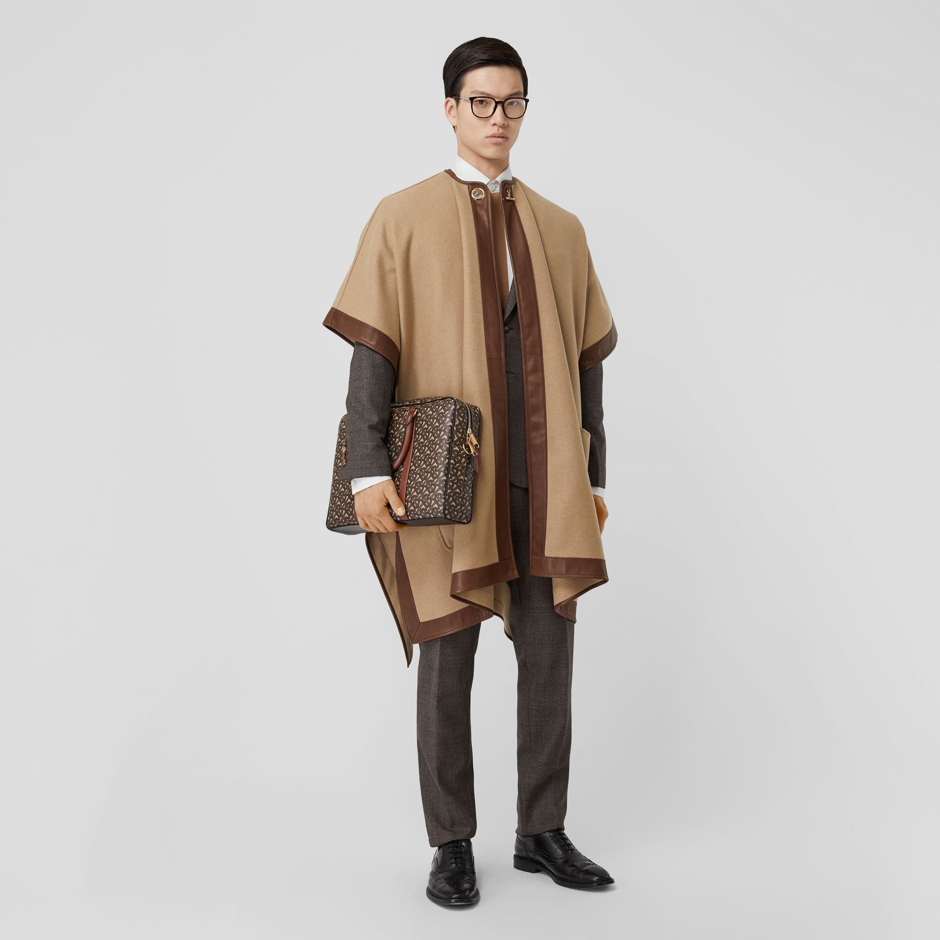 Lambskin Trim Double-faced Cashmere Cape in Camel | Burberry United Kingdom - gallery image 7