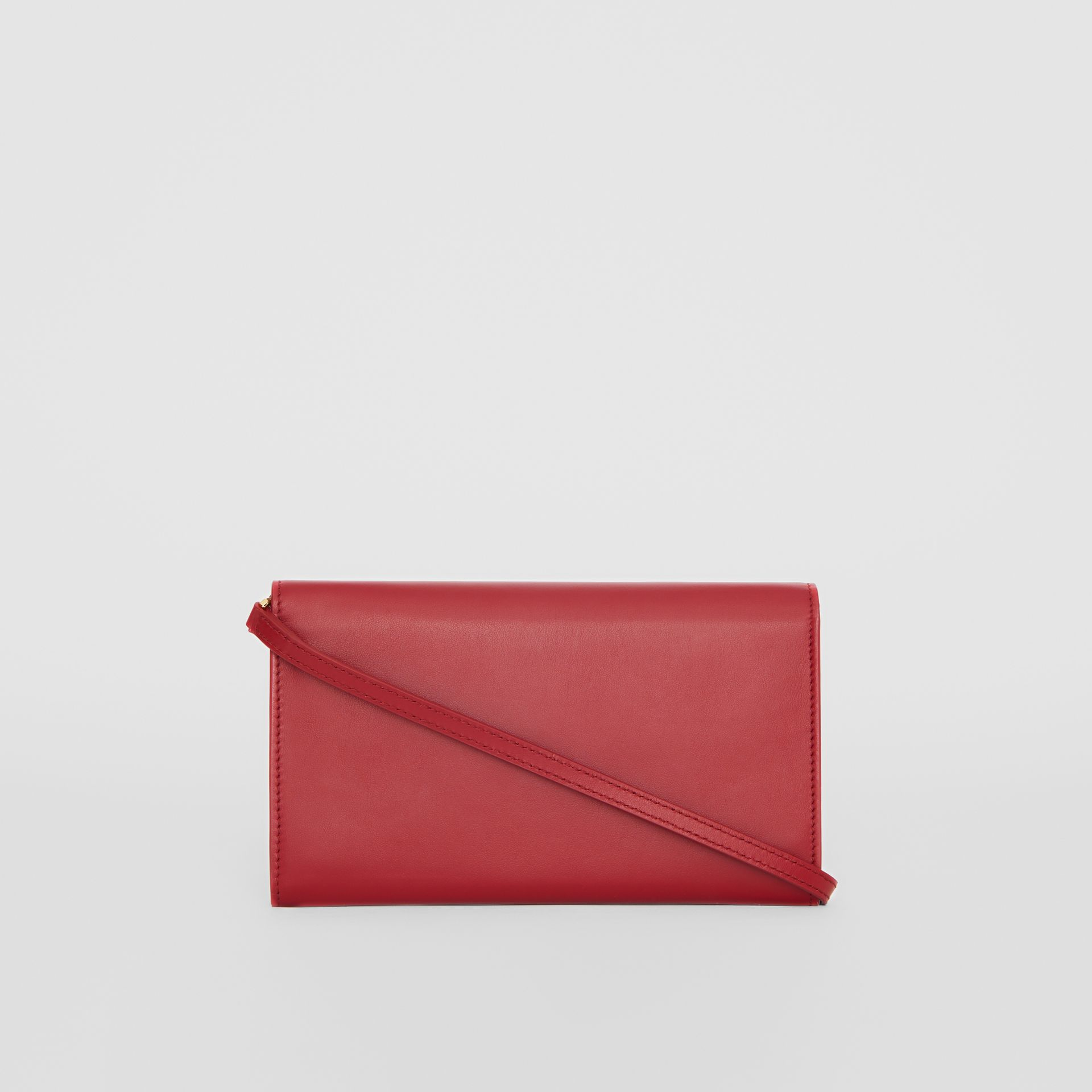 Monogram Motif Leather Wallet with Detachable Strap in Crimson - Women | Burberry - gallery image 7