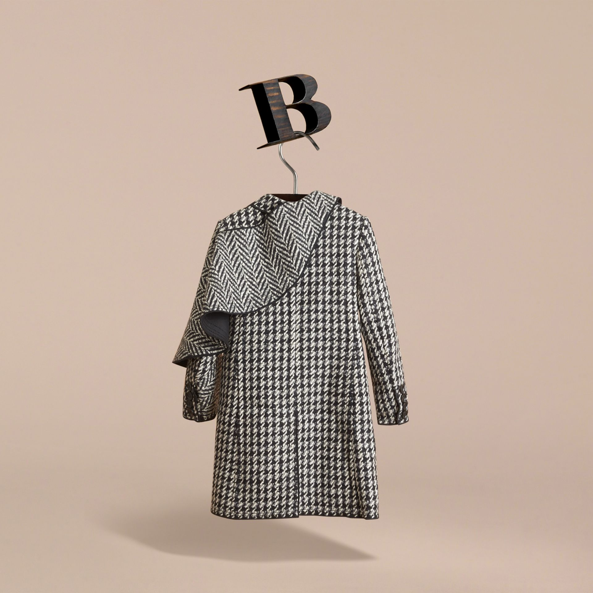 Sculptural Panel Tailored Houndstooth Wool Coat - Girl | Burberry - gallery image 4