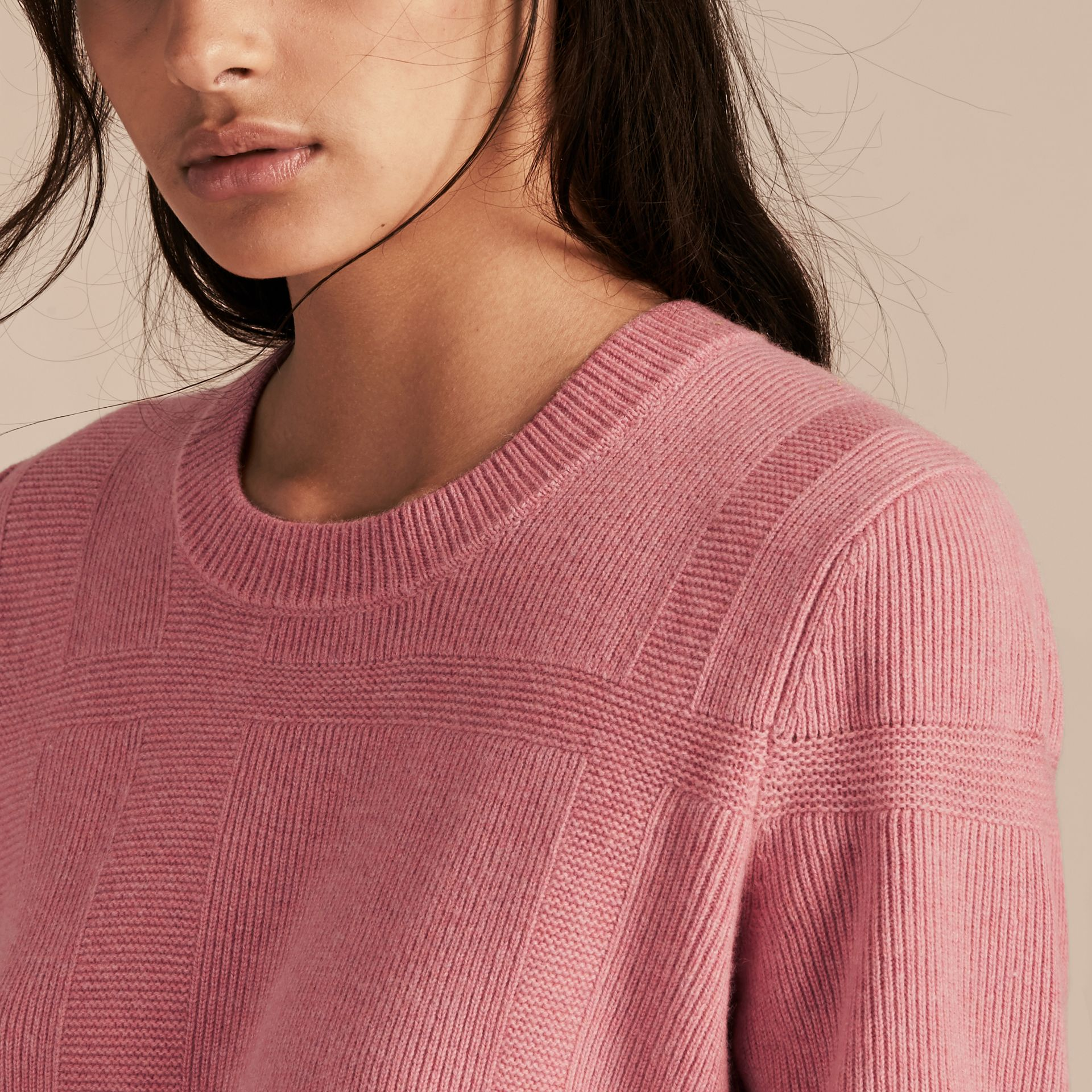 Check-knit Wool Cashmere Sweater in Hydrangea Pink Melange - gallery image 5