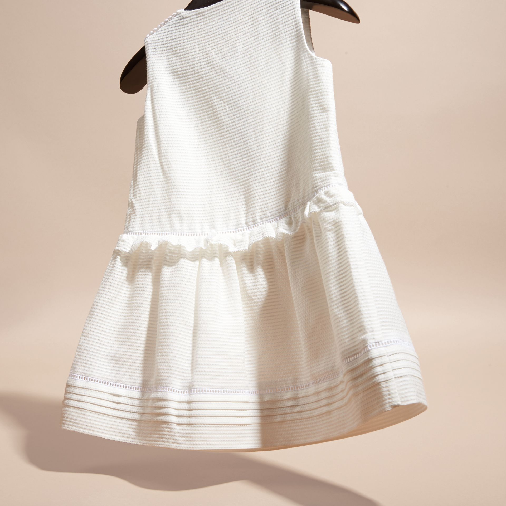 White Lace Bib Cotton Silk Sleeveless Dress - gallery image 3