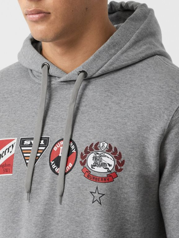 Logo Graphic Cotton Oversized Hoodie in Pale Grey Melange - Men   Burberry United Kingdom - cell image 1